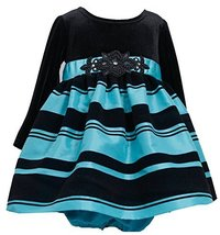Bonnie Baby Baby Girls' Black Velvet Turquoise Stripe Christmas Dress 24M X13... image 2
