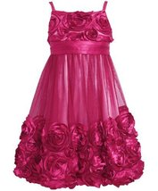 Rose-Pink Bonaz Rosette Mesh Bubble Dress RO4FT,Bonnie Jean Tween Girls Speci...