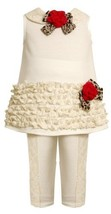 Ivory Ruffle Border and Lace Trim Dress / Legging set IV2FR,Bonnie Jean Todde...