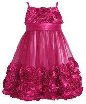 Rose-Pink Bonaz Rosette Mesh Bubble Dress, Bonnie Jean Toddler Girls, 3T