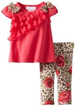Bonnie Baby-girls Newborn Ruffle Tunic Legging Set, Rose, 6-9 Months [Apparel]