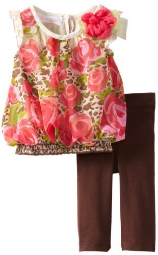 Bonnie Baby-girls Newborn Chiffon Rose Legging Set, Brown, 6-9 Months [Apparel]