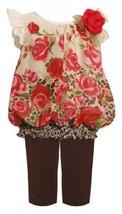 Bonnie Baby-girls Newborn Chiffon Rose Legging Set, Brown, 6-9 Months [Apparel] image 2