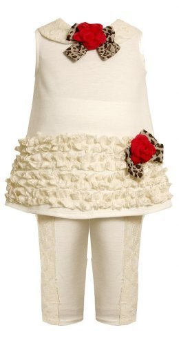Ivory Ruffle Border and Lace Trim Dress / Legging set IV0SI,Bonnie Jean Baby-...