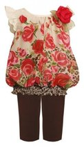 Rose Border Print Chiffon Bubble Dress / Legging Set BR1TW,Bonnie Jean Baby-I...