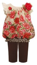 Bonnie Baby-girls Newborn Chiffon Rose Legging Set, Brown, 18 Months [Apparel]