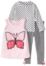 Bonnie Jean Little Girls' Butterfly Fleece Legging Set, Pink, 3T [Apparel] image 2