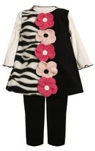 Button-Flower Solid-Zebra Stripe Fleece Jumper Dress BK2TH,Bonnie Jean Todder...