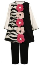 Button-Flower Solid-Zebra Stripe Fleece Jumper Dress BK3FR,Bonnie Jean Little...