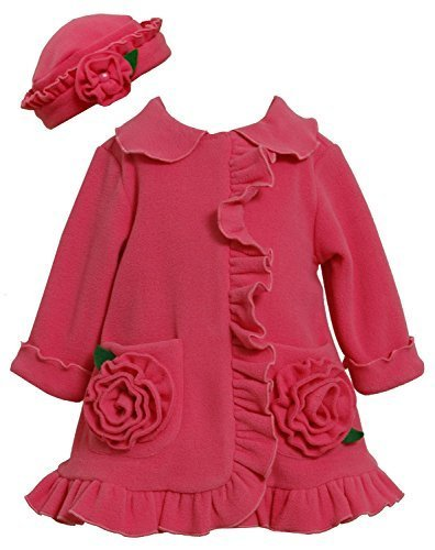 Bonnie Jean Baby-Girls 12M-24M Fuchsia Bonaz Rosette Pockets Fleece Coat/Hat ...