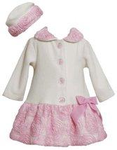 Ivory Pink Bonaz Border and Bow Fleece Coat / Hat Set IV2TW,Bonnie Jean Todde...