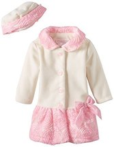 Bonnie Jean Little-Girls Toddler Bonaz Trim Fleece Coat and Hat Set HAIV2, Ivory