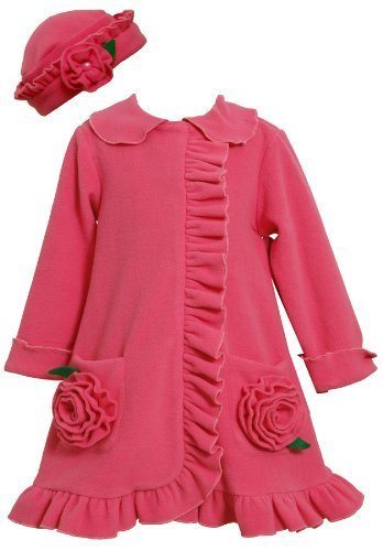 Fuchsia Bonaz Rosette Pockets Fleece Coat / Hat Set FU2HA,Bonnie Jean Todders...