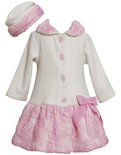 Bonnie Jean Girls 2T-4T Ivory Pink Bonaz Border and Bow Fleece Coat / Hat Set...