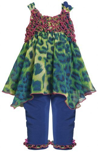 Royal-Blue Hanky Hem Animal Print Chiffon Legging Set RY0SI,Bonnie Jean Baby-...