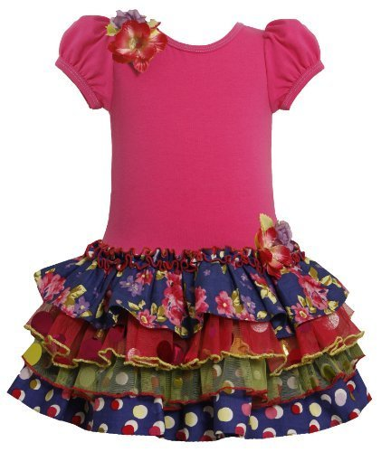Fuchsia Tiered Mix Print Drop Waist Sparkle Dress FUC2TW,Bonnie Jean Todders ...