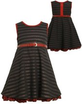 Black Pin-Dot-Stripe Exposed Zipper Back Knit Dress BK2FR,Bonnie Jean Todders...