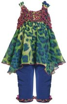 Royal-Blue Hanky Hem Animal Print Chiffon Legging Set RY1TF,Bonnie Jean Baby-...