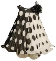 Black White Crystal Pleat Positive Negative Dot Dress BK0SI,Bonnie Jean Baby-...