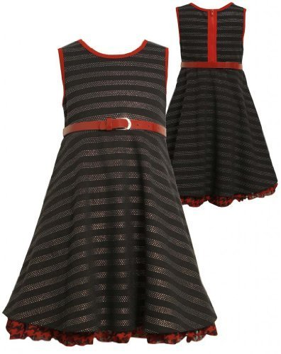 Black Pin-Dot-Stripe Exposed Zipper Back Knit Dress BK3SI,Bonnie Jean Little ...