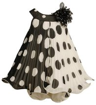 Black White Crystal Pleat Positive Negative Dot Dress BK1TW,Bonnie Jean Baby-... - $40.19