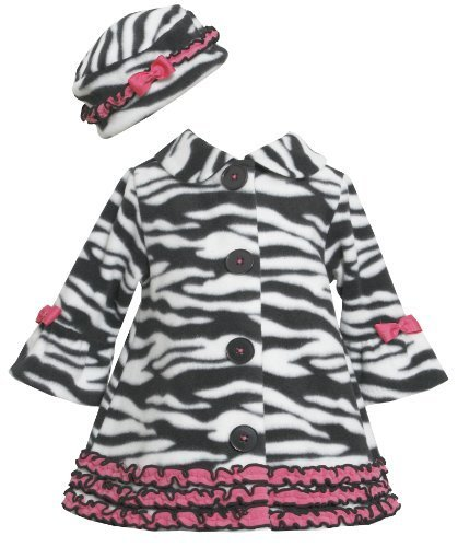 Bonnie Baby Baby Girls' Zebra Fleece Coat and Hat Set, Black/White, 18 Months...