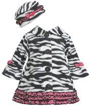Bonnie Baby Baby Girls' Zebra Fleece Coat and Hat Set, Black/White, 18 Months...