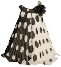 Black White Crystal Pleat Positive Negative Dot Dress BK2TW,Bonnie Jean Todde... - $43.66