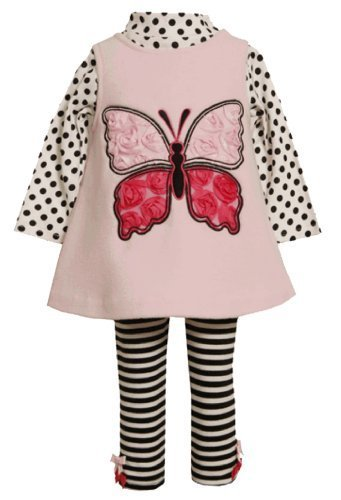 Pink Butterfly Applique Fleece Jumper Dress/Legging Set PK1TW,Bonnie Jean Bab...