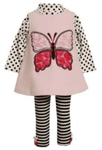 Pink Butterfly Applique Fleece Jumper Dress/Legging Set PK1TF,Bonnie Jean Bab...