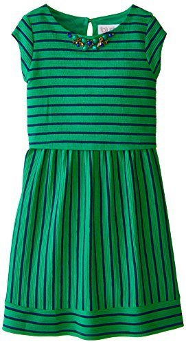 Blush by Us Angels Big Girls' Cap Sleeve Popover Dress, Emerald, 14 [Apparel]