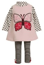 Bonnie Jean Little Girls' Butterfly Fleece Legging Set, Pink, 2T [Apparel]