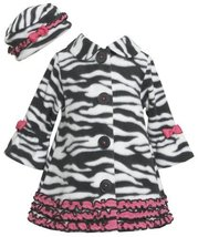 Ruffle Zebra Stripe Bell Sleeve Fleece Coat / Hat Set BW2TW,Bonnie Jean Todde...