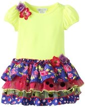 Bonnie Jean Little Girls' Multi Print Tiered Dress, Purple, 2t [Apparel]