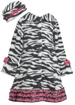 Ruffle Zebra Stripe Bell Sleeve Fleece Coat / Hat Set BW3FR,Bonnie Jean Littl...