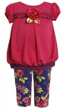 Purple Pink Floral Print Knit Dress / Legging Set PU1TW,Bonnie Jean Baby-Infa...