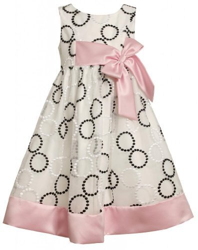 Black White Pink Embroidered Circle Organza Dress BW3SI,Bonnie Jean Little Gi...