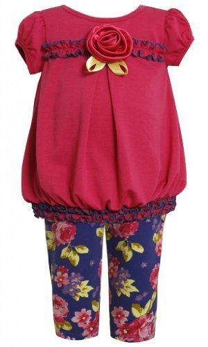Purple Pink Floral Print Knit Dress / Legging Set PU1TF,Bonnie Jean Baby-Infa...