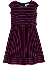 Big Girls Tween Berry-Red/Blue Jewel Neckline Texture Stripe Pop Over Dress, ...