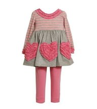 Bonnie Jean Girls Heart Rusching Fall Dress Outfit Set, Pink , 4 [Apparel]