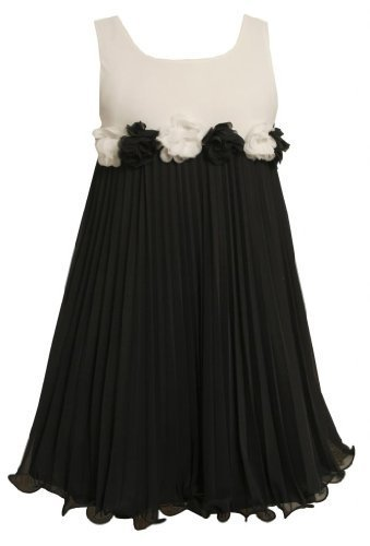 Flutter Rosette Waistline Pleated Chiffon Dress BW3SI,Bonnie Jean Little Girl...