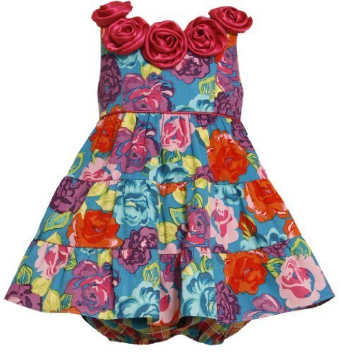 Bold Floral Print Satin Rosette Neckline Tiered Dress, Bonnie Jean, Fuchsia, 12M