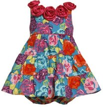 Bold Floral Print Satin Rosette Neckline Tiered Dress FU1TF,Bonnie Jean Baby-...