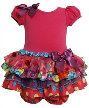 Bonnie Baby Baby-Girls Infant Sparkle Tiered Dress, (Fuchsia, 3-6 Months)