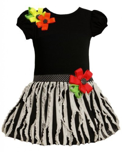 Bonnie Jean Girls 2T-6X Black and Ivory Knit to Vertical Eyelash Ruffles Dres...