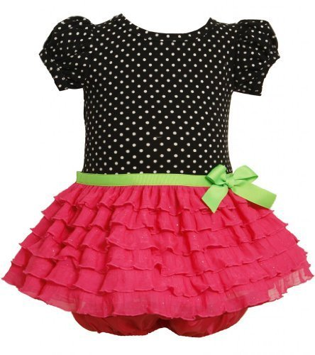 Fuchsia-Pink Black Dotted Glitter Eyelash Ruffles Dress FU0TH,Bonnie Jean Bab...