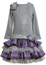 Grey/Purple Tiered Plaid Lace Mock Twofer Dress GY8ST,Bonnie Jean Girl Plus-S...