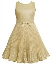 Gold Lace Sunburst Pleat Illusion Dress GO4SV,Bonnie Jean Tween Girls Special...
