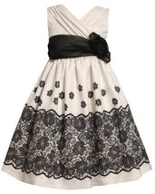 Ivory Black Lace Border Print Crossover Shantung Dress IV3FR,Bonnie Jean Girl...