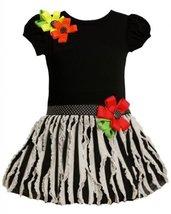Bonnie Jean Girls 2T-6X Black and Ivory Knit to Vertical Eyelash Ruffles Dres...